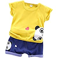 Elonglin Boys Girls Shorts Sets Kids Summer Clothes Set Cartoon Short Sleeved Tops + Elastic Short Pants 2-Piece Outfit Set