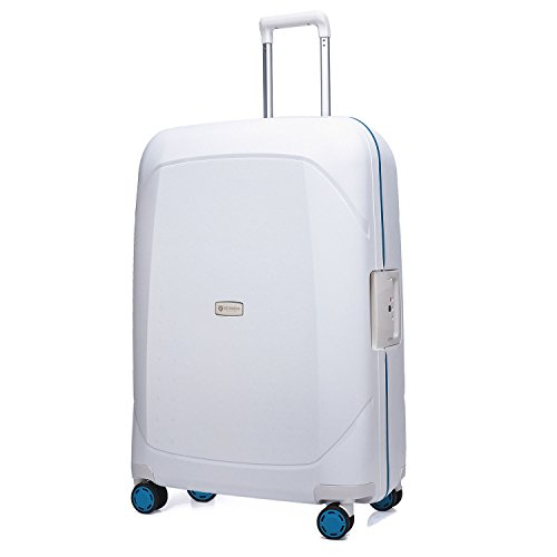 クロース(Kroeus) スーツケース 人気 大型ダブルキャスター 静音 PPボディ 軽量 キャリーケース 旅行 出張 TSAロック 3重ロック ネームタグ付 2XL ホワイト