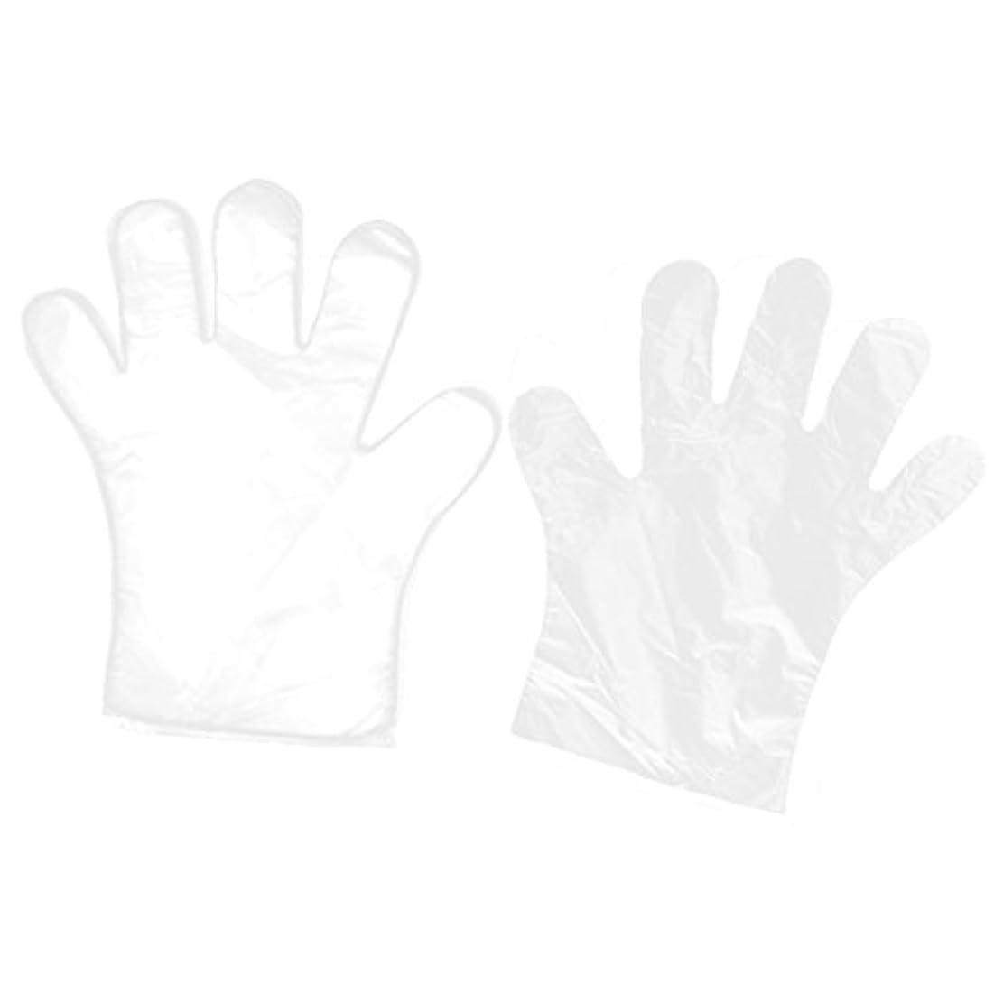 uxcell 使い捨て手袋 家キッチン レストラン の食べ物サービス ハンド用 透明 100個入り