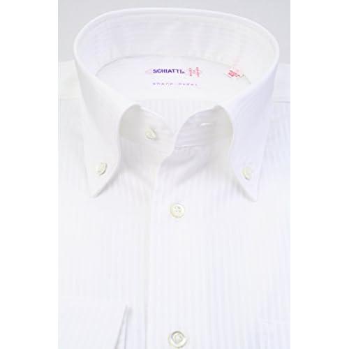 (スキャッティ) SCHIATTI 白無地 ドビーストライプ 80双糸 ボタンダウン (細身) ドレスシャツ bd3890-3983