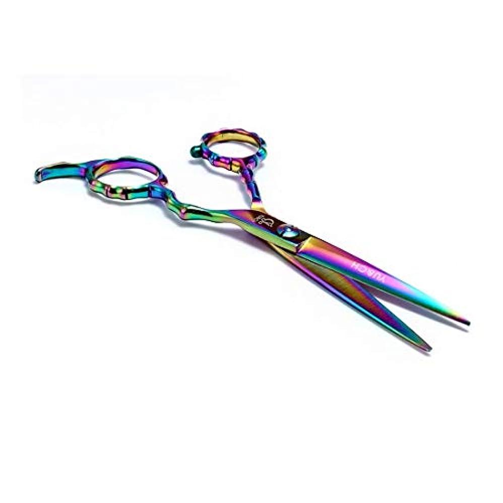 ベルトクラシック発揮するJiaoran 6.0インチ竹ハンドルカラー理髪はさみ理髪はさみフラットはさみ440鋼の切れ味