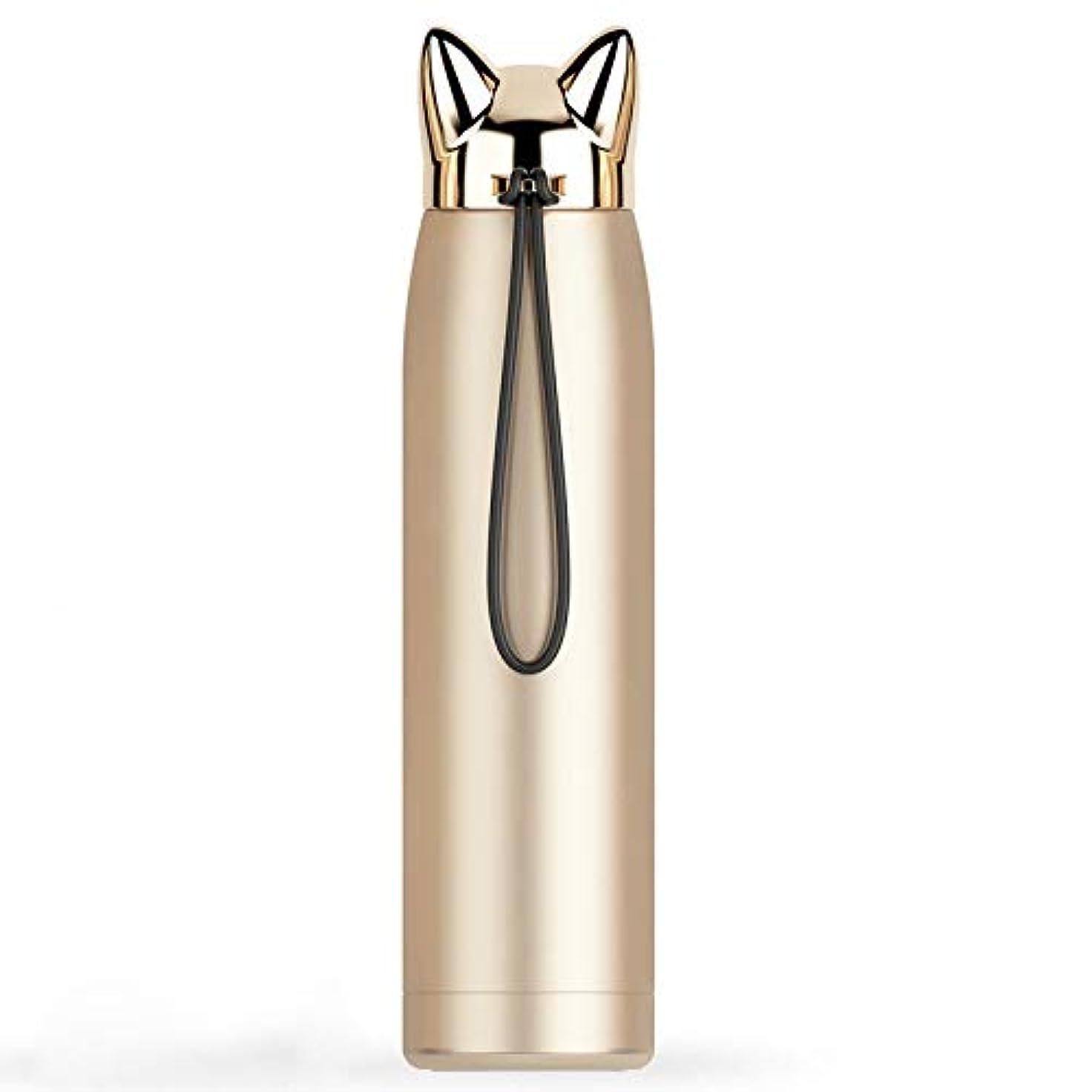 感情座標預言者Xiaoyuna 二重壁魔法瓶ステンレス鋼真空フラスコカップかわいい猫キツネ耳サーマルコーヒーミルク旅行ウォーターボトルマグカップ320ミリリットル (Color : 320ml-Gold, Size : One size)