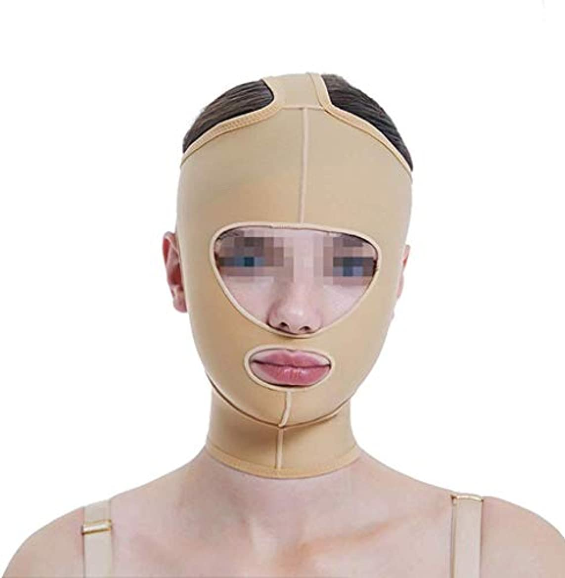 地平線事故メータースリミングVフェイスマスク、フェイスリフトマスク、ラインカービングフェイスエラスティックセットシンダブルチンVフェイスビームフェイスマルチサイズオプション(サイズ:XXL)