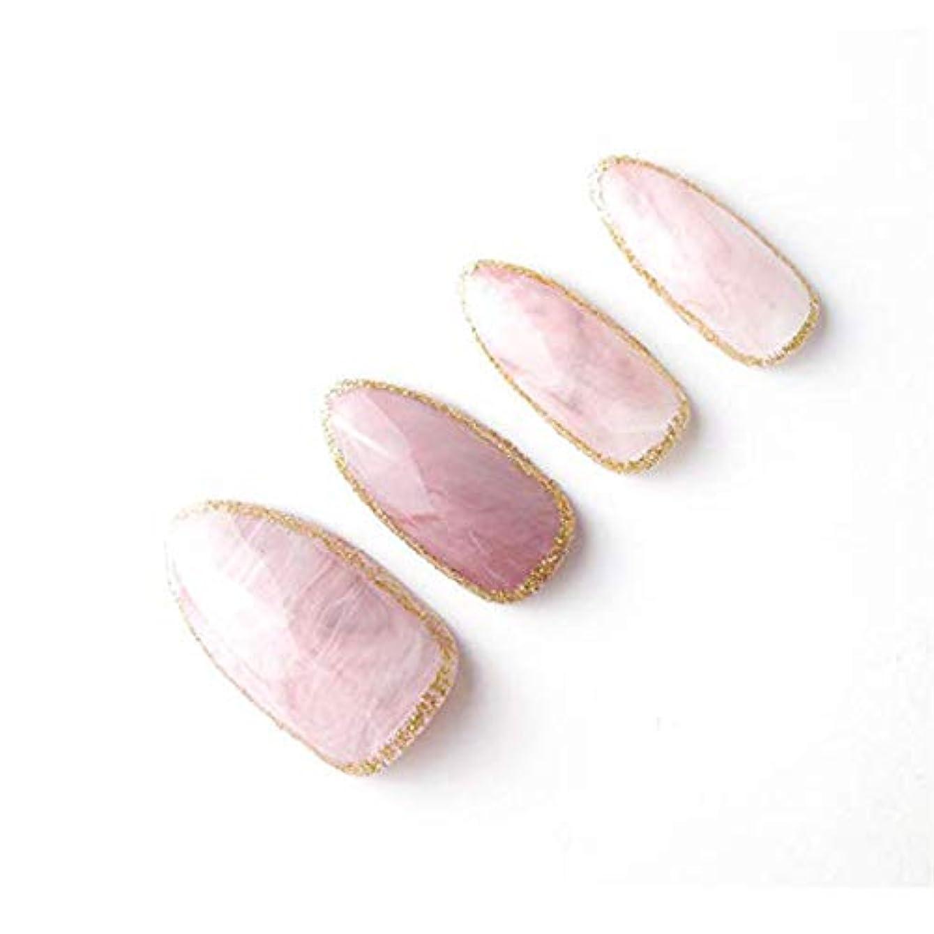 雇用雇用アトミックYuNail ネイルチップ 24枚 ピンク 石の質感 楕円形状 短い アクリル