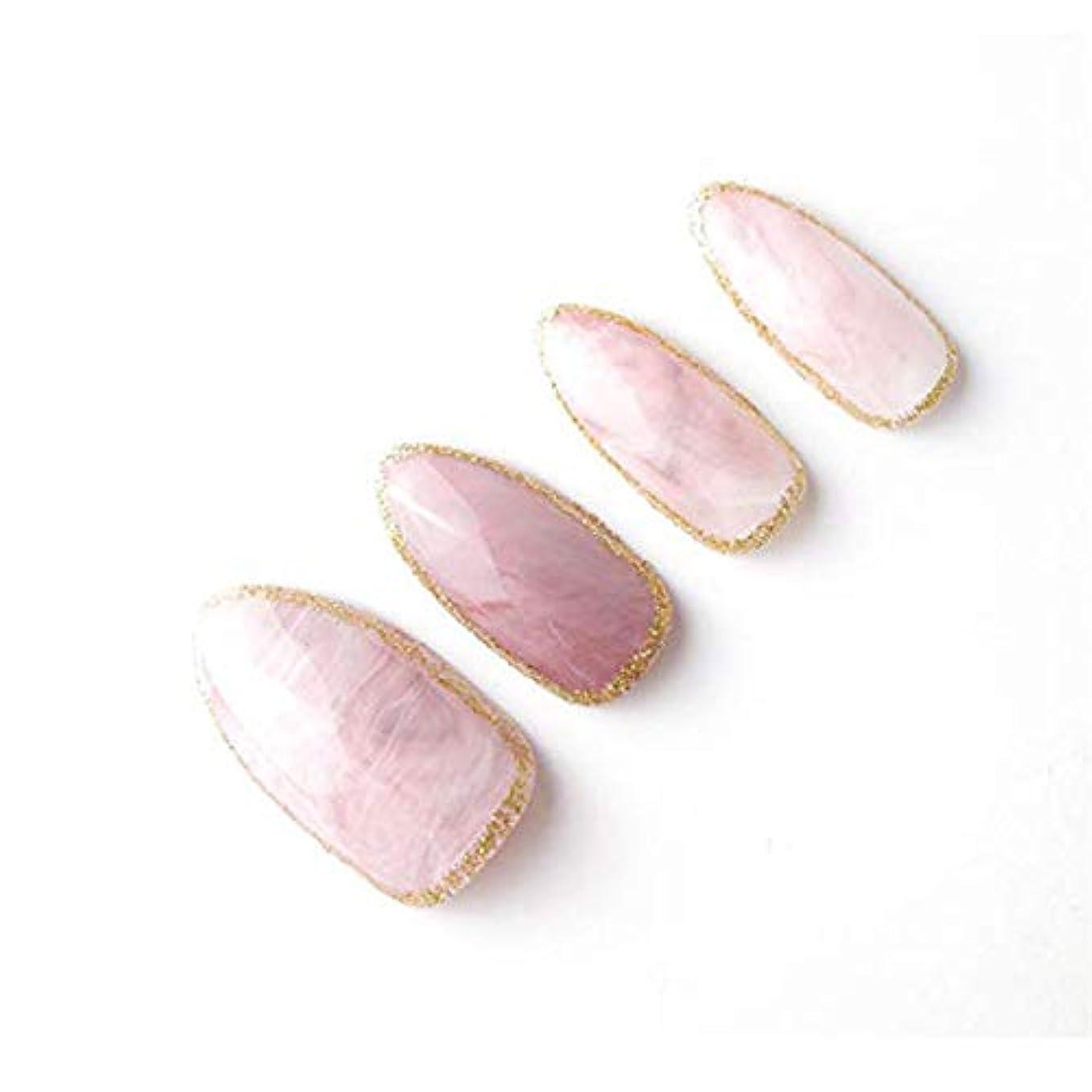 旋律的の頭の上泥沼YuNail ネイルチップ 24枚 ピンク 石の質感 楕円形状 短い アクリル