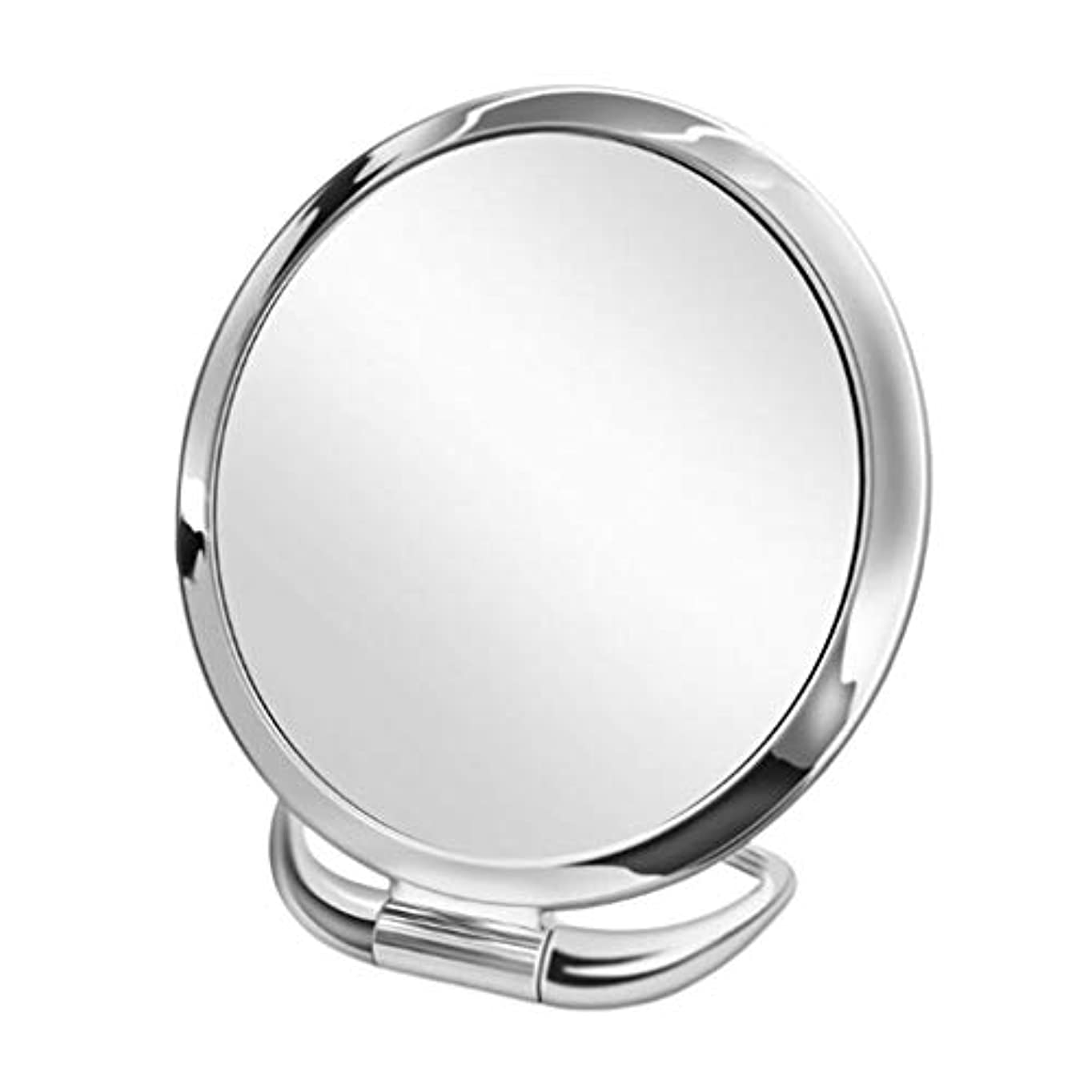 弾薬息苦しいイノセンス化粧鏡 化粧ミラー 卓上ミラー 折りたたみ 携帯用 旅行 自宅 オフィス 3倍拡大 両面鏡 全9種類 - スライバーラウンド
