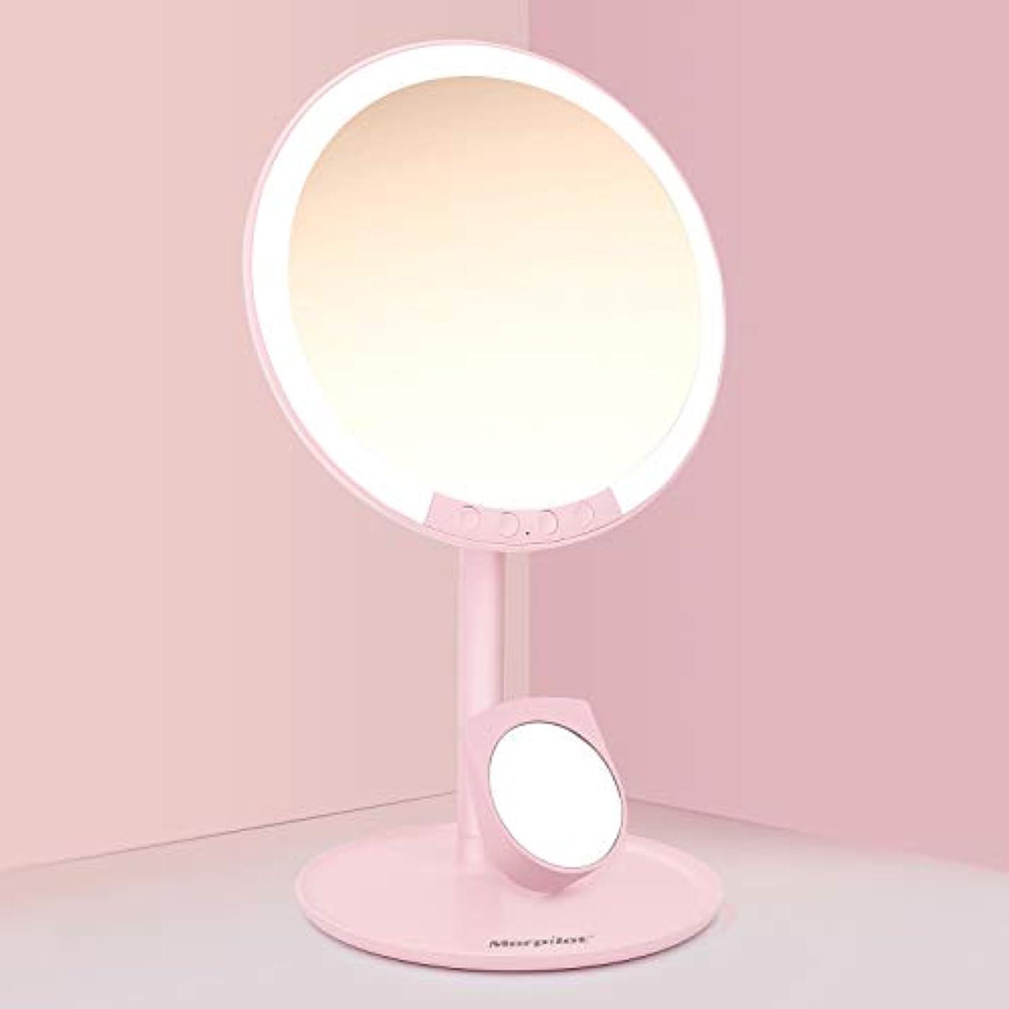化粧鏡 化粧ミラー Morpilot 卓上ミラー 女優ミラー 66個LED付きミラー 7倍拡大鏡付き 3色調節可能 明るさ調節可能 USB充電式 120度回転 収納ベース 可愛い鏡