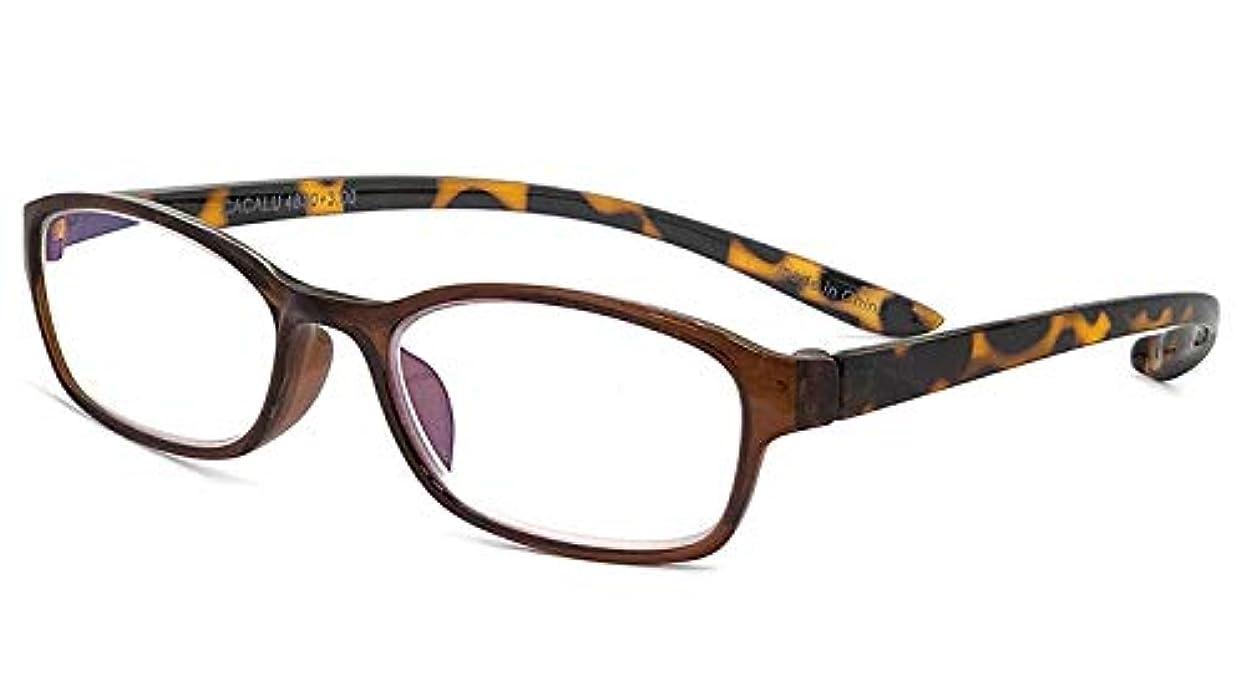 区画困惑したはがき老眼鏡 CACALU カカル ブラウン×デミ 度数 +1.50 首掛け 老眼鏡 女性 男性 リーディンググラス シニアグラス