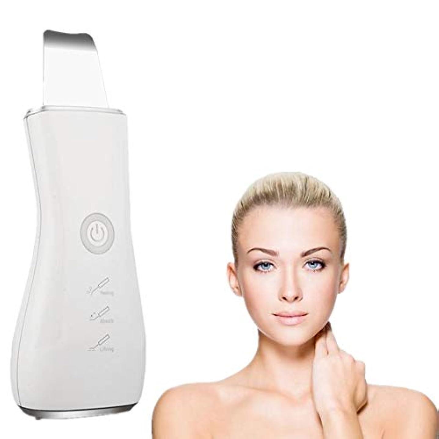 マキシムバズロッカー顔の皮膚スクラバーブラックヘッドリムーバー毛穴充電式スキンスクラバー光子の若返り美容スキンクリーナーEMSクリーニングイオン導入モードUSB充電式美容ツール、シルバー