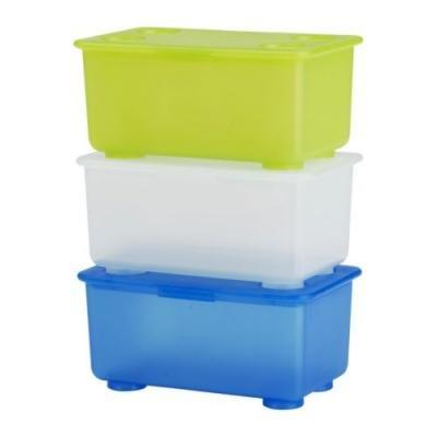 ★グリース / GLIS ふた付きボックス 3ピース/ ブルー・ホワイト・ライトグリーン[イケア]IKEA(10135584)