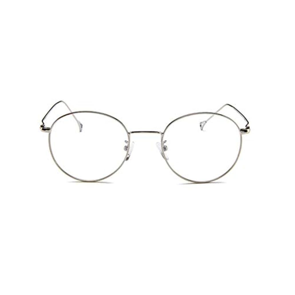 海里あなたのものエイズ韓国のメガネフレームの男性と女性のレトロフラットメガネメタルトレンディメガネファッション近視メガネフレーム-スライバー