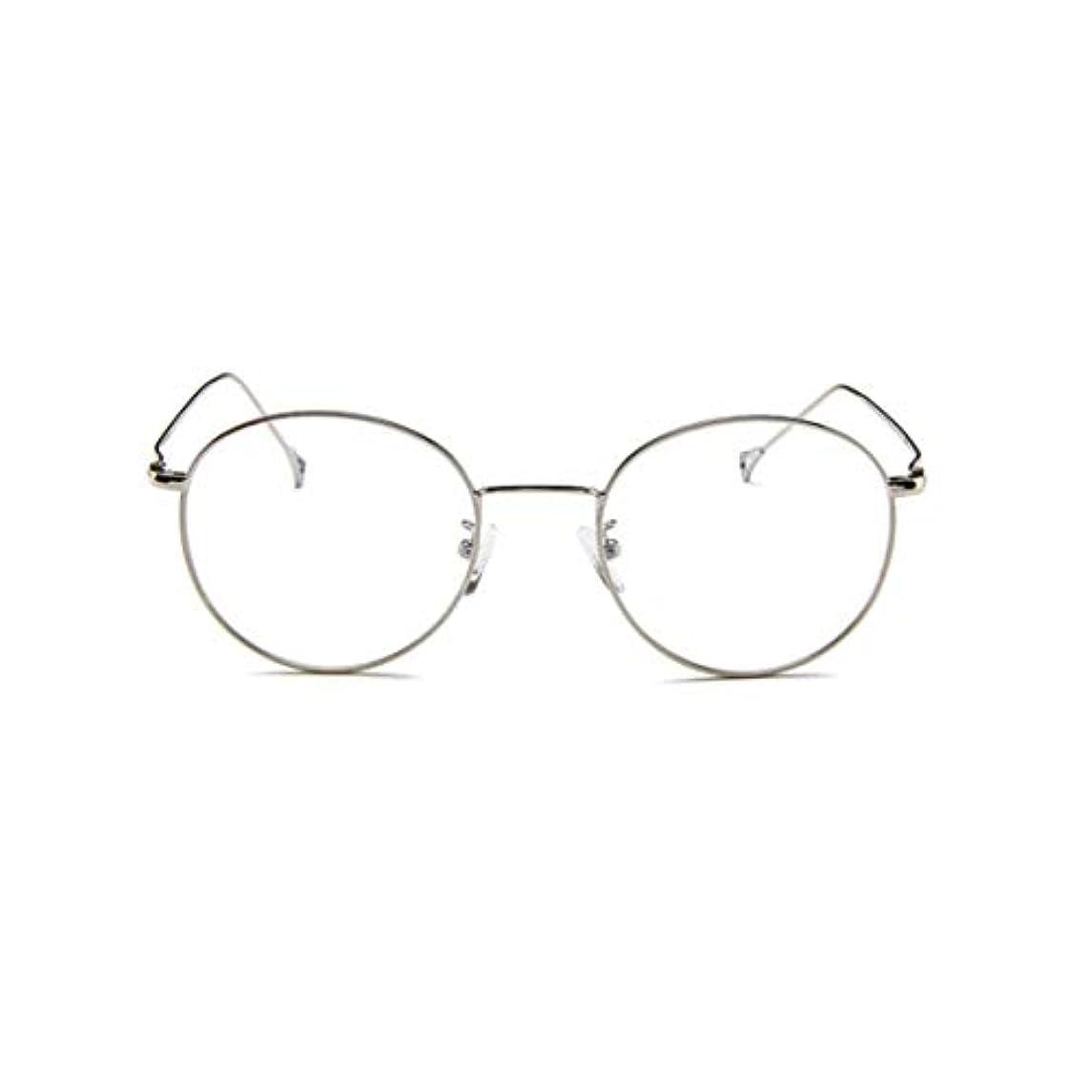 フィヨルド信念ビール韓国のメガネフレームの男性と女性のレトロフラットメガネメタルトレンディメガネファッション近視メガネフレーム-スライバー