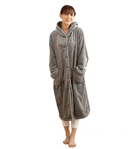 mofua モフア プレミアム マイクロファイバー 着る 毛布 フード付(ルームウェア) 着丈110cm グレー 48476413