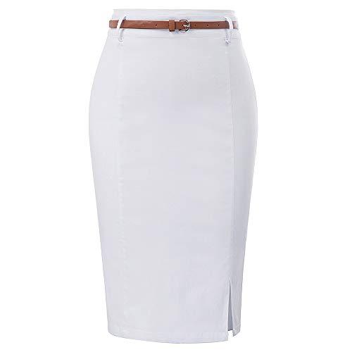タイトスカート スカートスーツ 事務服 リクルートスーツ ビジネス オフィス OL ホワイト S KK856-7