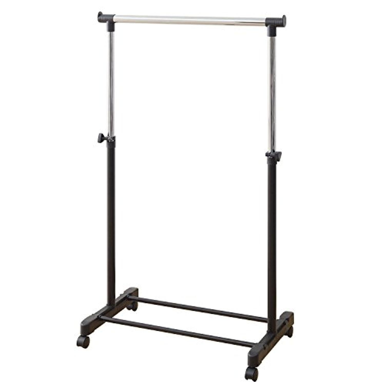 山善 高さ伸縮 ハンガーラック 耐荷重15kg シングル キャスター付き ブラック MKS-S(BK)(S)