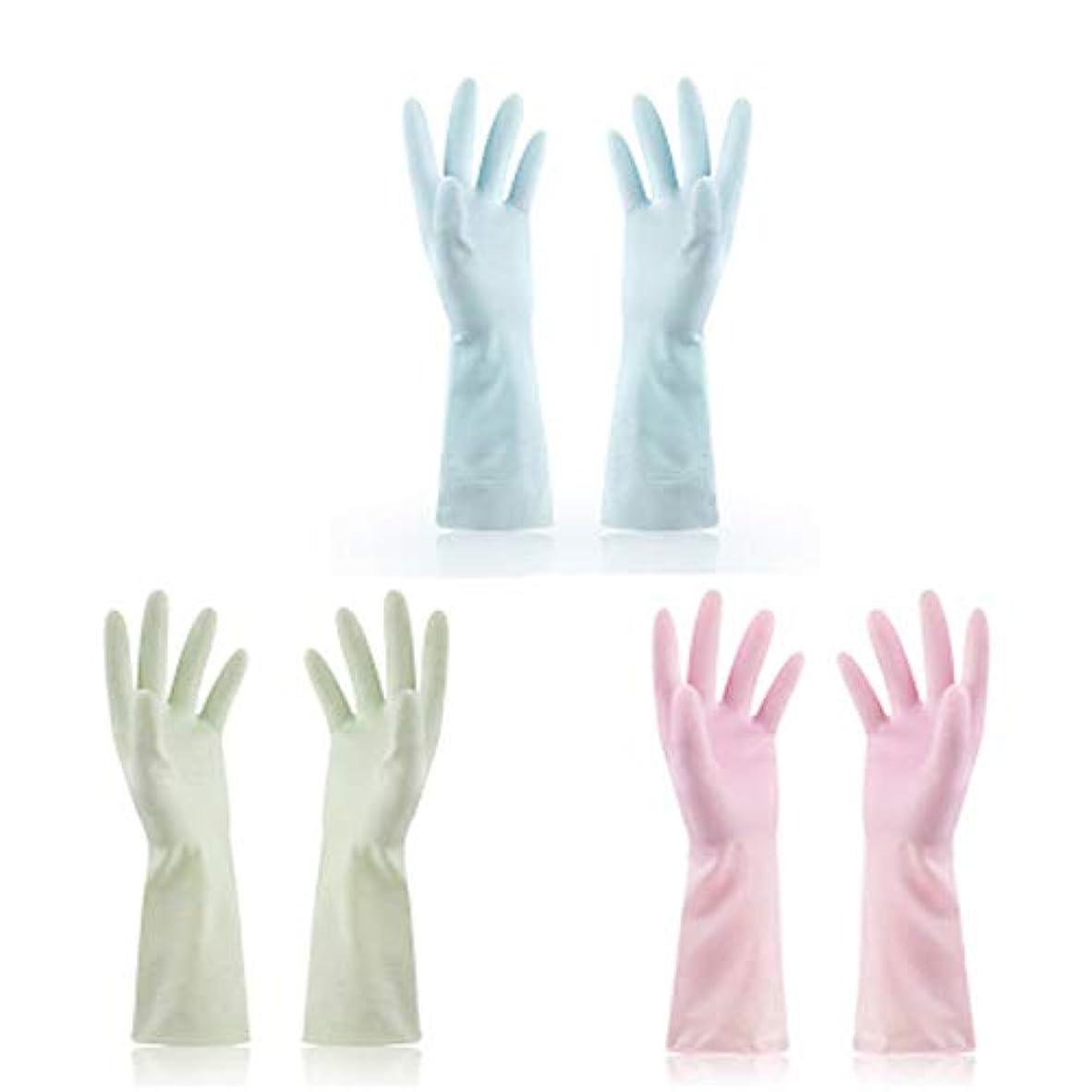 ねばねばバイオレット鹿使い捨て手袋 使い捨て手袋防水ラテックス焦げ付き防止ゴム製ゴム製台所手袋、3組 ニトリルゴム手袋 (Color : Multi-colored, Size : M)