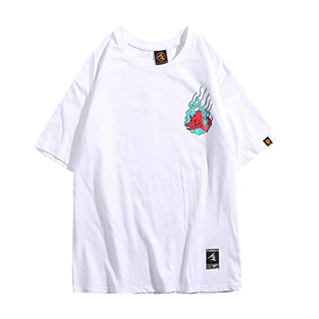 装備するアノイ葉を集める?Mangjiuメンズ服tシャツ夏おしゃれシンプルなスタイル人気の花プレゼント花火大会カップルのファッションプリントシャツヒップホップストリートウェア半袖Tシャツブラウス