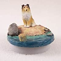 "会話概念ミニチュアSheltie Sable CandleトッパーTiny One "" A Day on the beach "" DTTG20A"