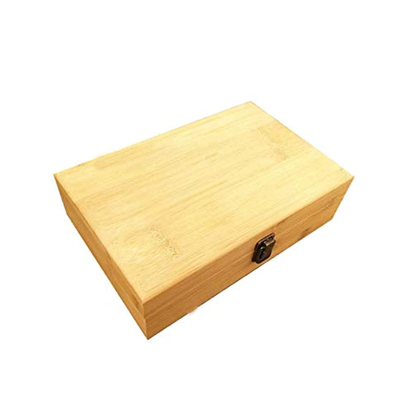 予報プレフィックス版エッセンシャルオイルの保管 40スロットエッセンシャルオイルボックス木製収納ケースは、40本のボトルエッセンシャルオイルスペースセーバーの開催します (色 : Natural, サイズ : 29X18.5X8CM)
