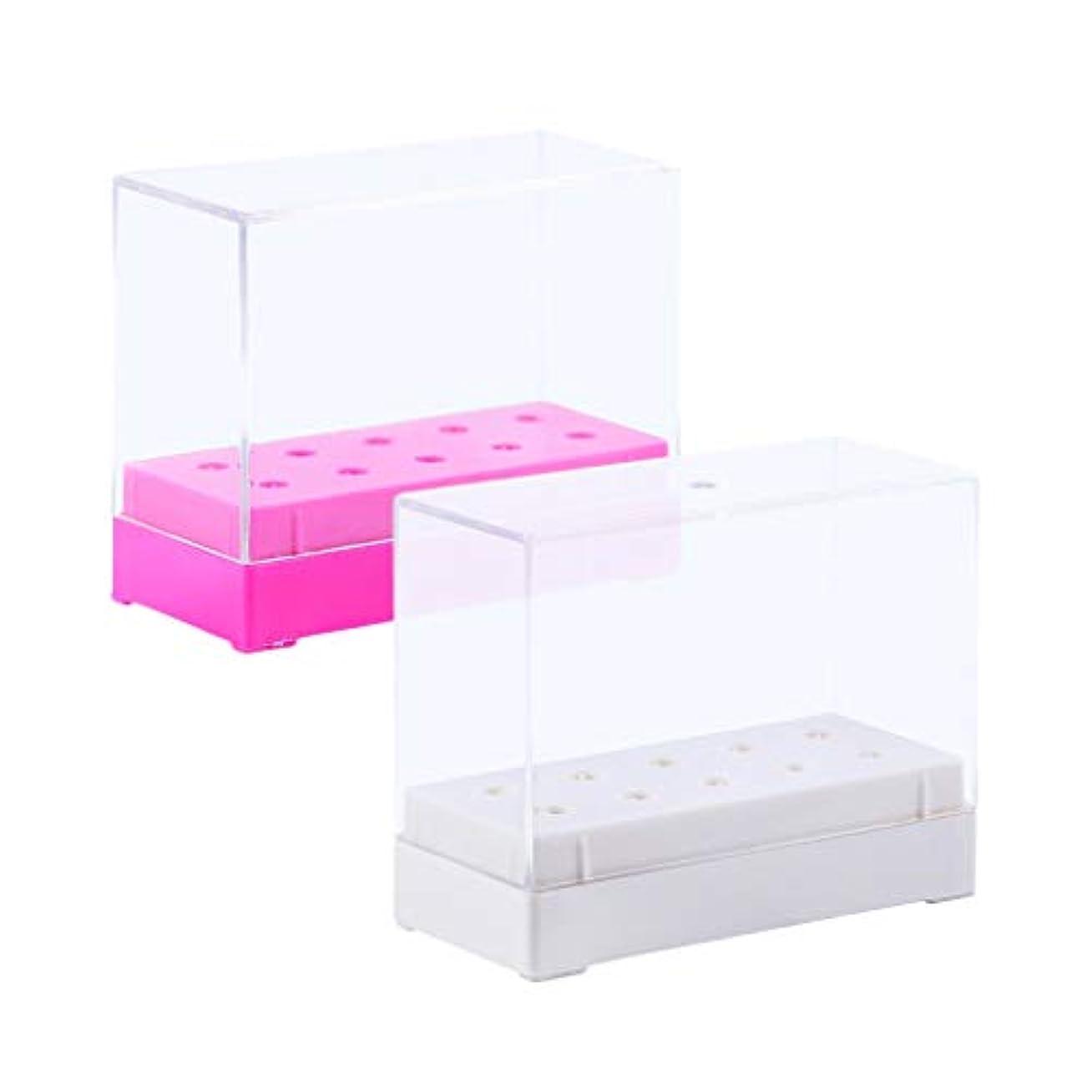 壁実行可能腕DYNWAVE 10穴ネイルドリルビットホルダースタンドオーガナイザーケースディスプレイ収納ボックス2x