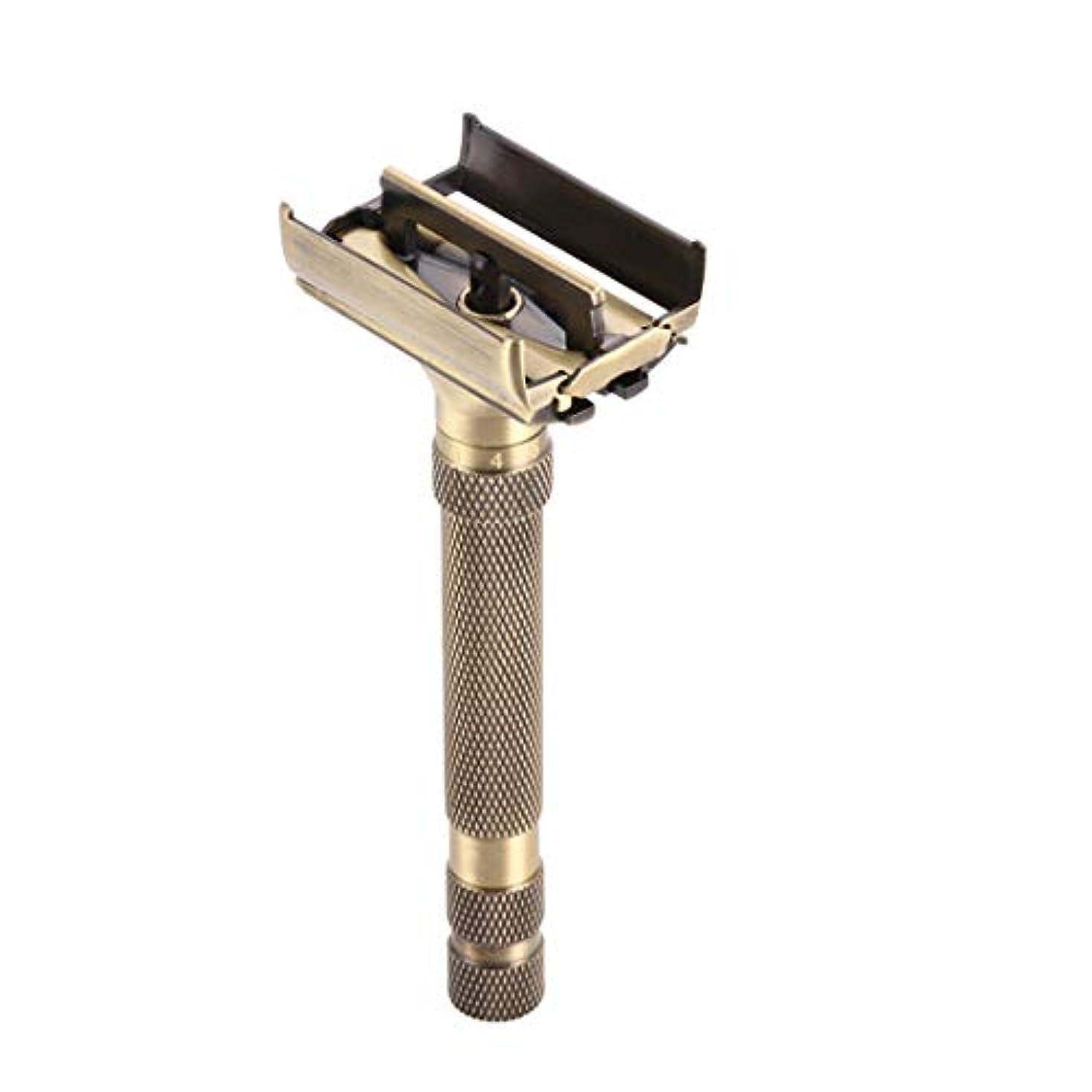 香港糞絶縁するクラシックダブルエッジカミソリ真鍮両面手動かみそり ブレード露出調整可能 ダブルエッジ 安全レイザー 替刃5個付