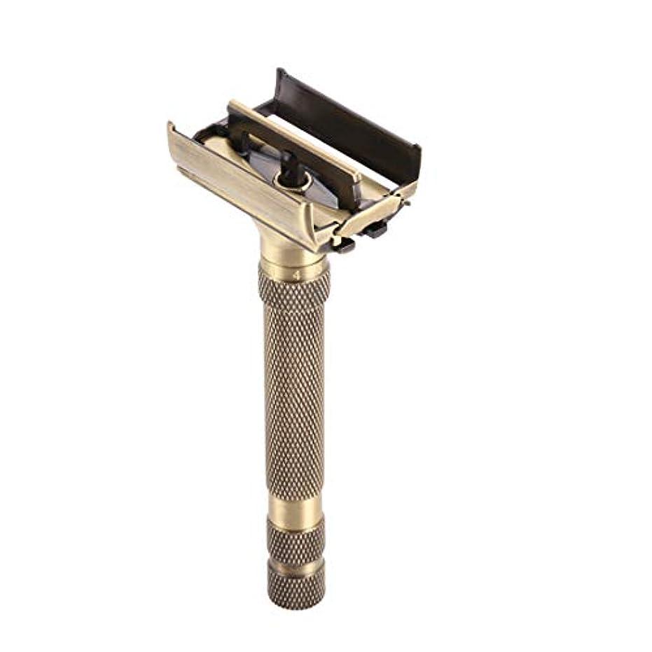 農業突撃不忠クラシックダブルエッジカミソリ真鍮両面手動かみそり ブレード露出調整可能 ダブルエッジ 安全レイザー 替刃5個付