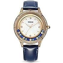 Time100  ✿背景 真珠数字 カラーダイヤモンド  ダイヤモンド付き 30M防水 腕時計 ブレスレット レディース W80115L(青、レット、ピンク) (青)