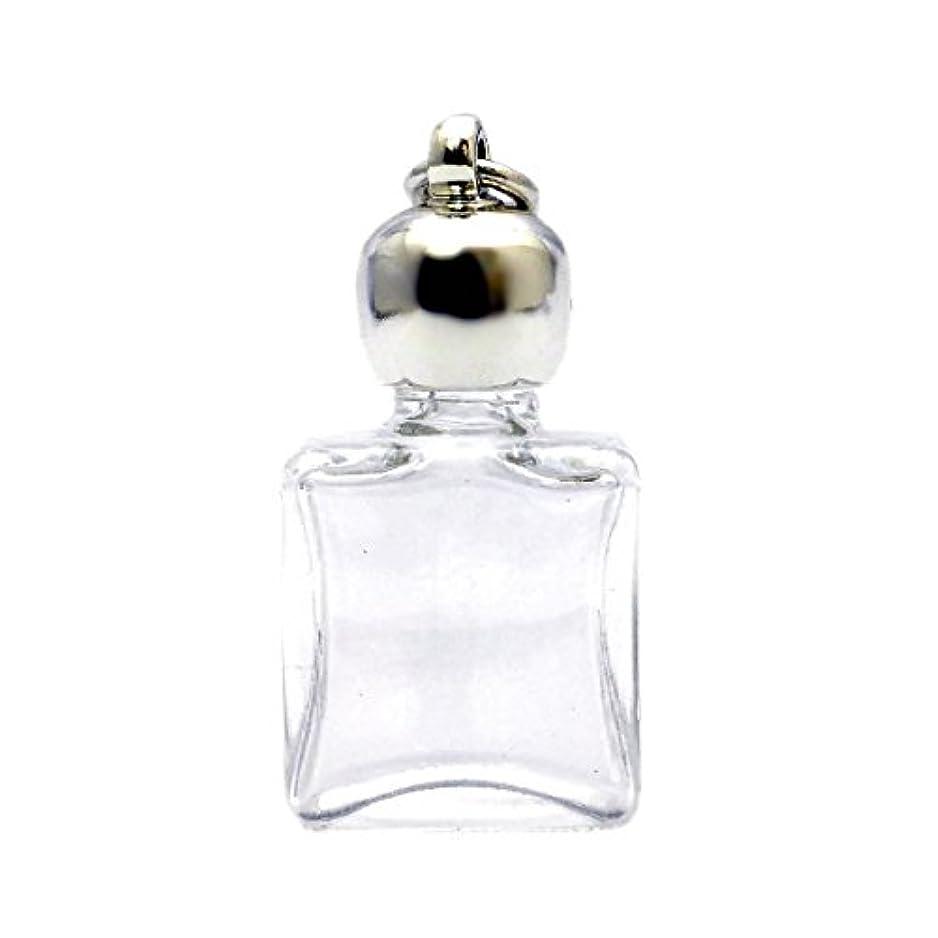 薄める殺人不測の事態ミニ香水瓶 アロマペンダントトップ 平角スキ(透明)1ml?シルバー?穴あきキャップ、パッキン付属