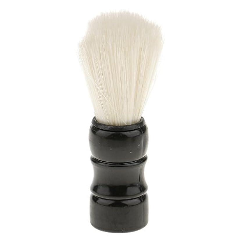 暴行あいさつウサギHellery シェービングブラシ 男性 口ひげ トリミング ナイロンブラシ シェービングツール 髭剃り 全2色 - ブラック