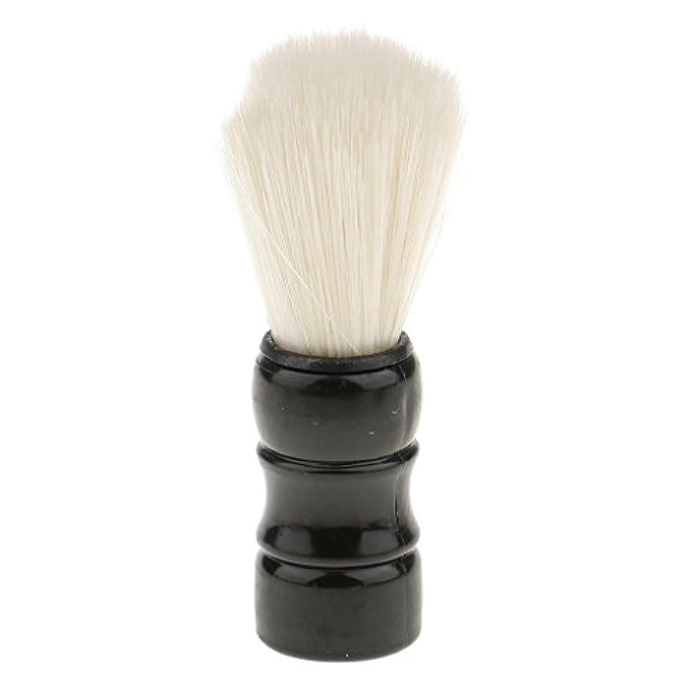 姓電球キャッチHellery シェービングブラシ 男性 口ひげ トリミング ナイロンブラシ シェービングツール 髭剃り 全2色 - ブラック