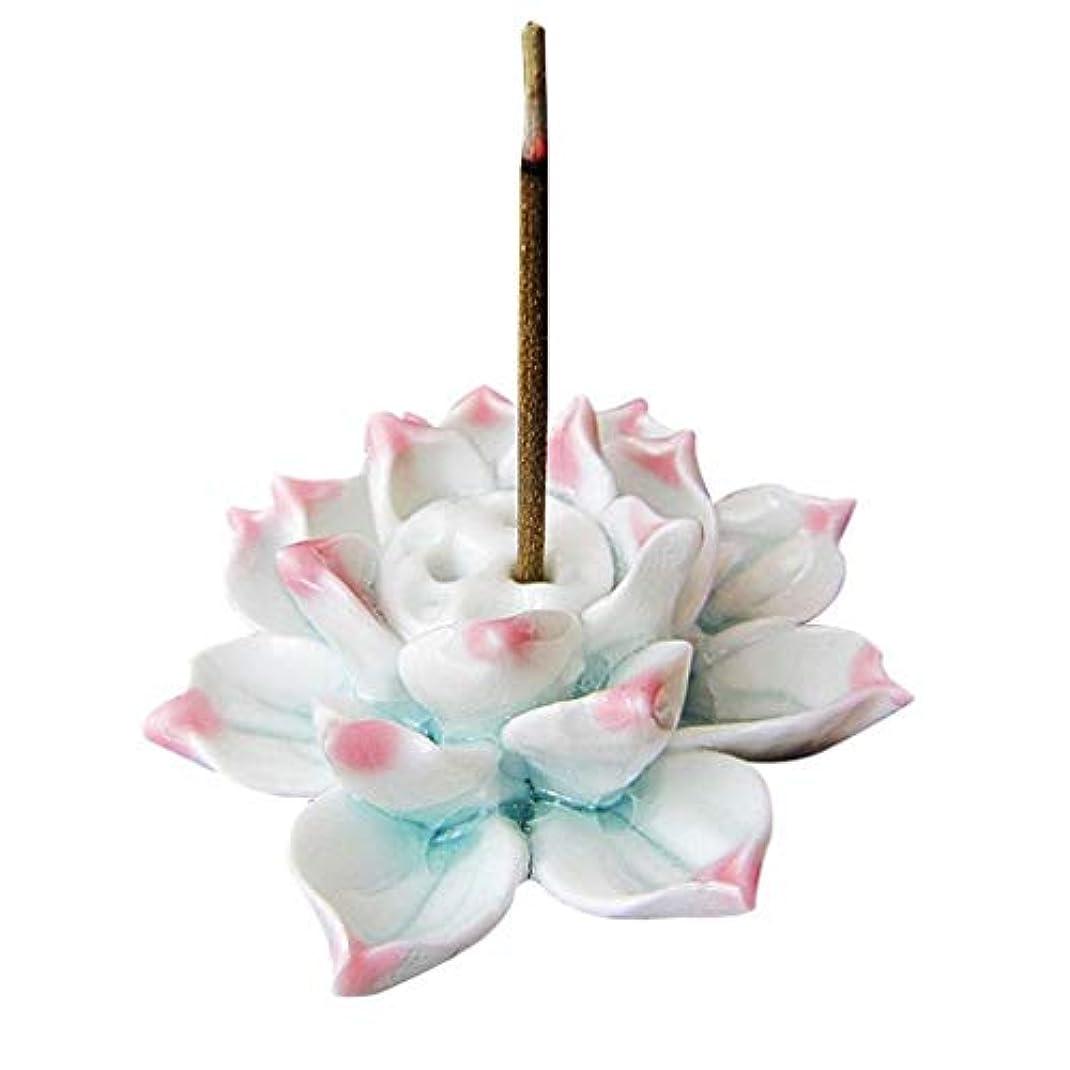 手作りお香バーナーロータス磁器お香スティックホルダー灰キャッチャートレイプレートホーム仏教寺院の装飾香ホルダー (Color : Pink, サイズ : 2.36*1.37inches)