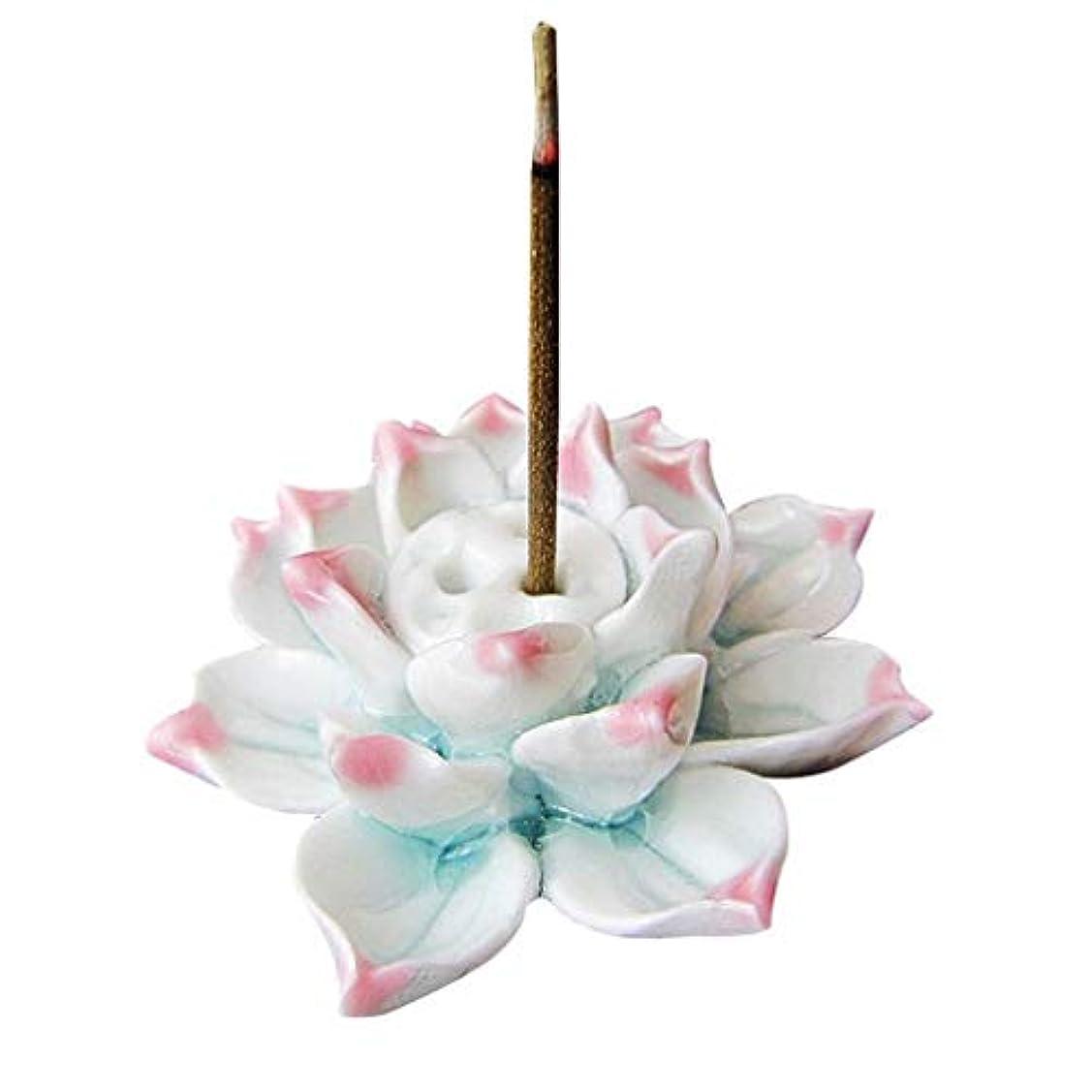 病なチャーミング発生手作りお香バーナーロータス磁器お香スティックホルダー灰キャッチャートレイプレートホーム仏教寺院の装飾香ホルダー (Color : Pink, サイズ : 2.36*1.37inches)
