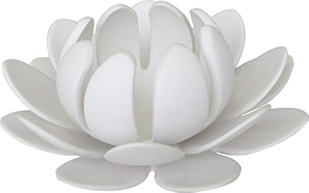 ハングランチョンいろいろマルエス 燭台 陶器製三連 ロータス 大 ホワイト