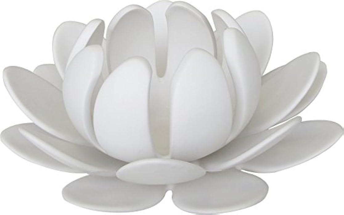苦味習字マルエス 燭台 陶器製三連 ロータス 大 ホワイト