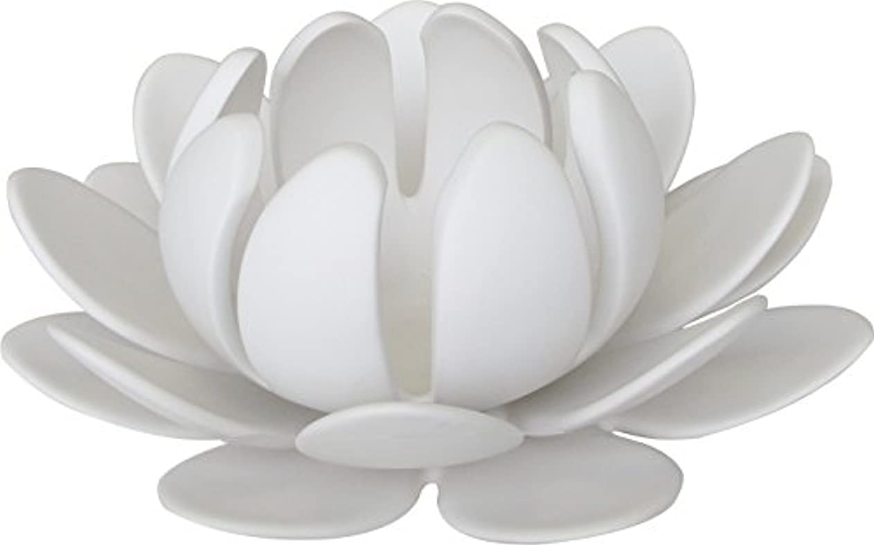 評価する岩ペリスコープマルエス 燭台 陶器製三連 ロータス 大 ホワイト