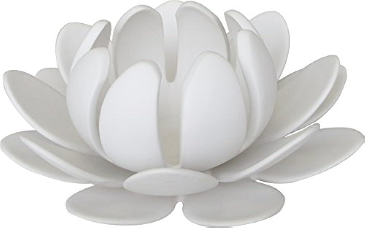 非公式通訳宗教的なマルエス 燭台 陶器製三連 ロータス 大 ホワイト