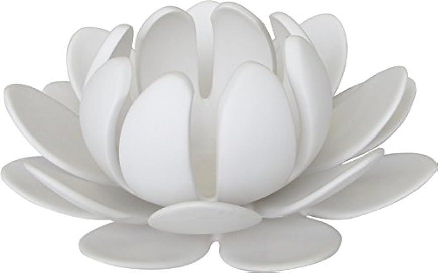 効果的に行商人電圧マルエス 燭台 陶器製三連 ロータス 大 ホワイト