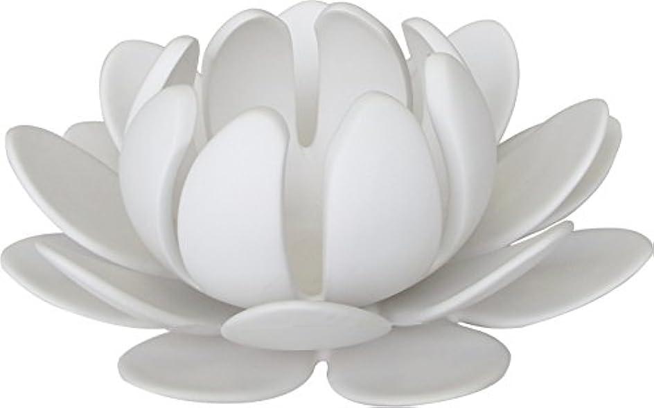 曲げるまとめる間マルエス 燭台 陶器製三連 ロータス 大 ホワイト
