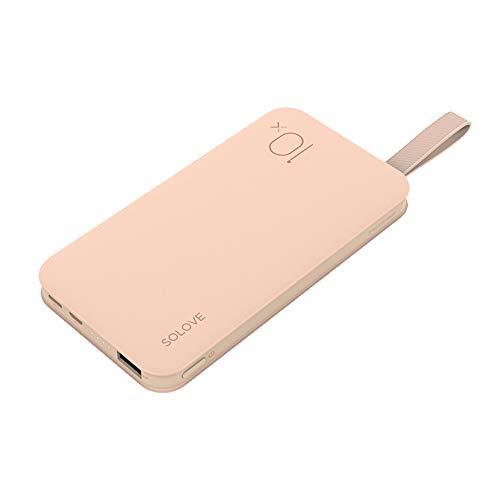 SOLOVE モバイルバッテリー 薄型 軽量 ストラップ付き 10000mAh 充電器 両面挿し ライトニング Type-C 入力 コンパクト 便利 iPhoneXS iPhoneXS MAX iPhoneX iPhone7/8 Plusなど対応 ピンク