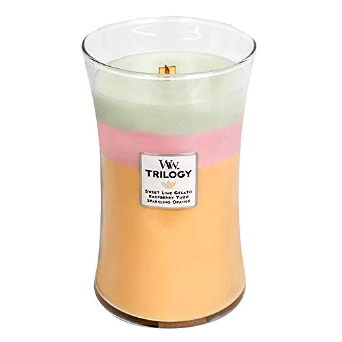 外側観察する愛国的なWoodWick Summer Sweets Trilogy Large Jar Scented Candle