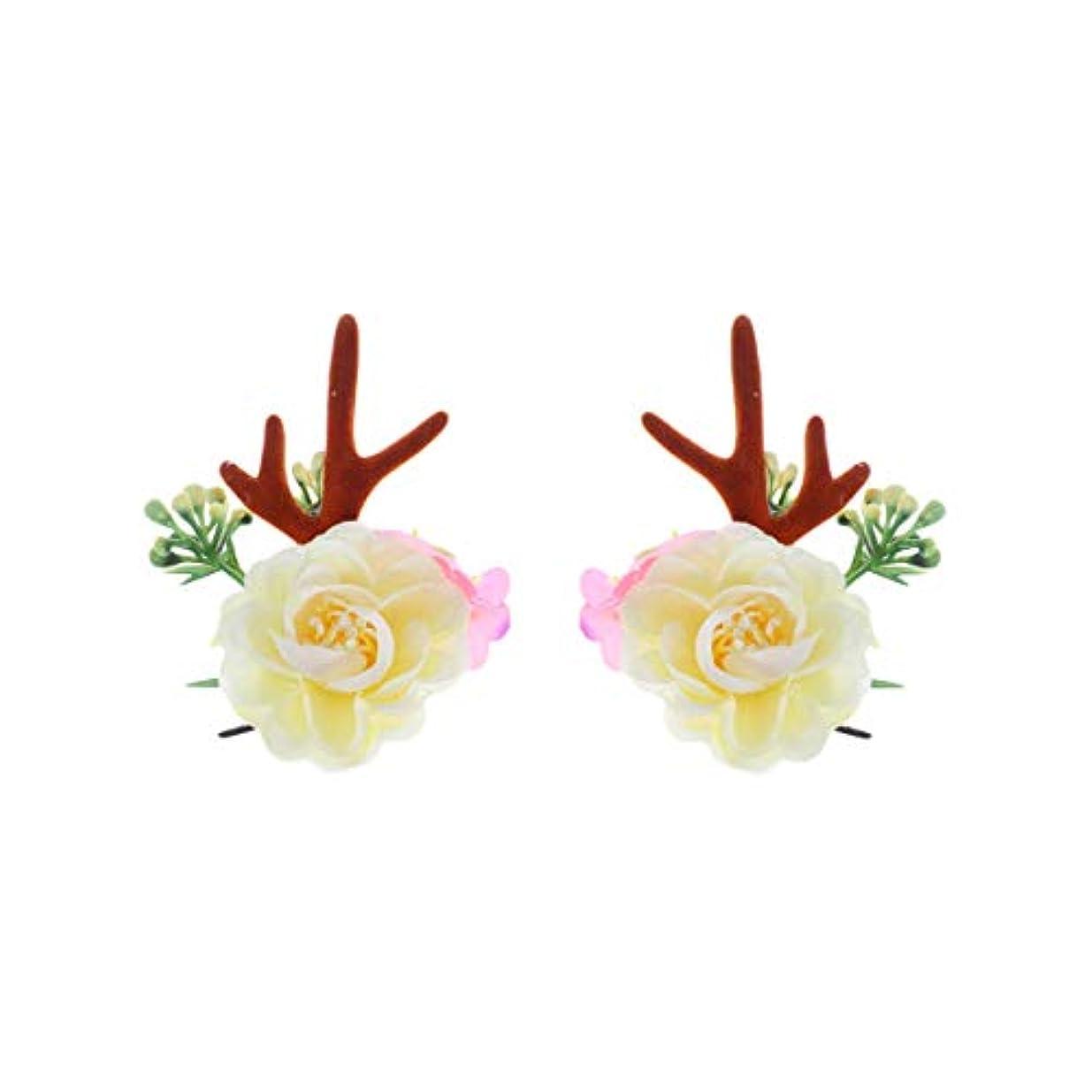 勃起噴水発音Lurrose クリスマスヘアクリップアントラーズアントラーズヘアピンかわいいヘアアクセサリー女の子日常着パーティーデコレーション