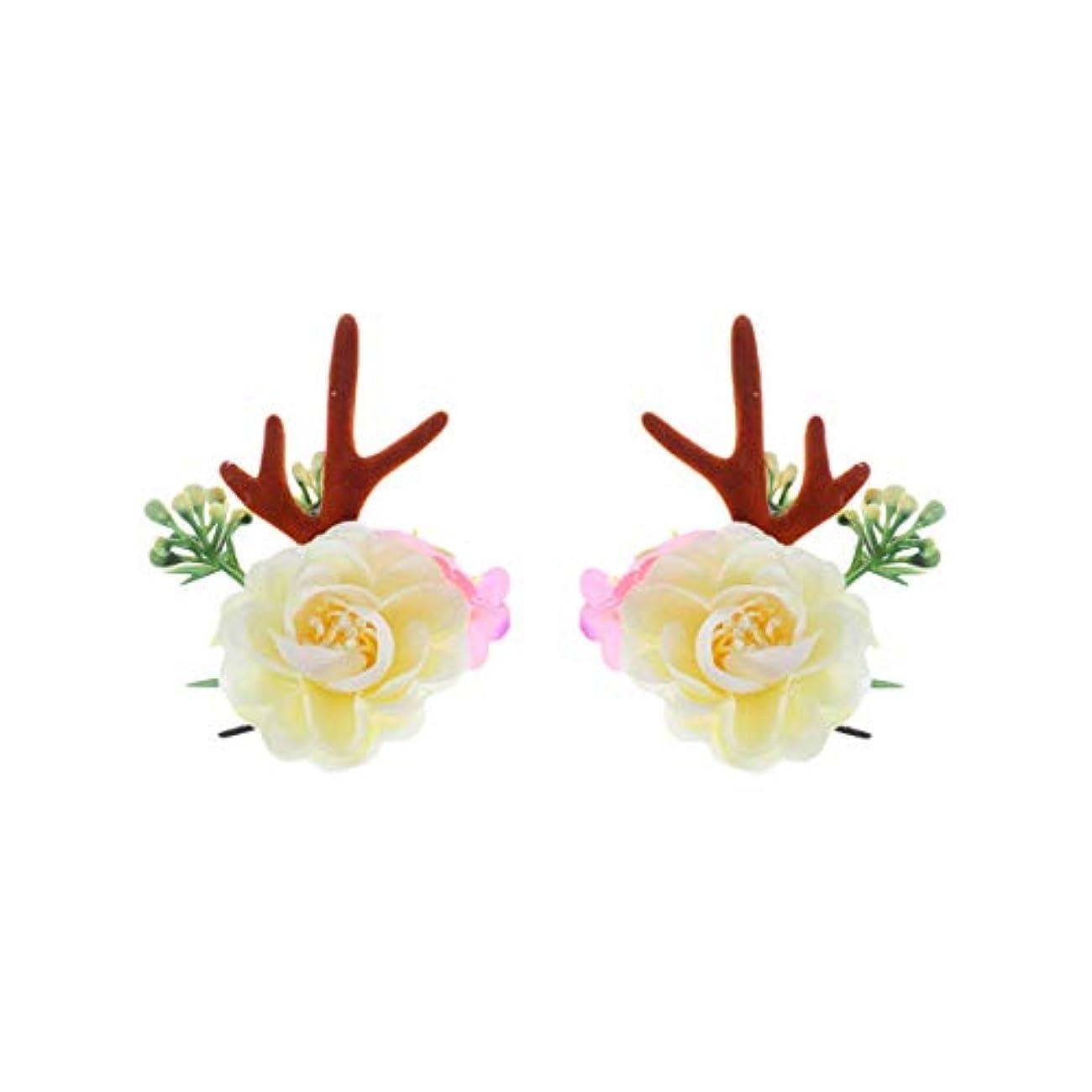 デザイナー考慮増加するLurrose クリスマスヘアクリップアントラーズアントラーズヘアピンかわいいヘアアクセサリー女の子日常着パーティーデコレーション