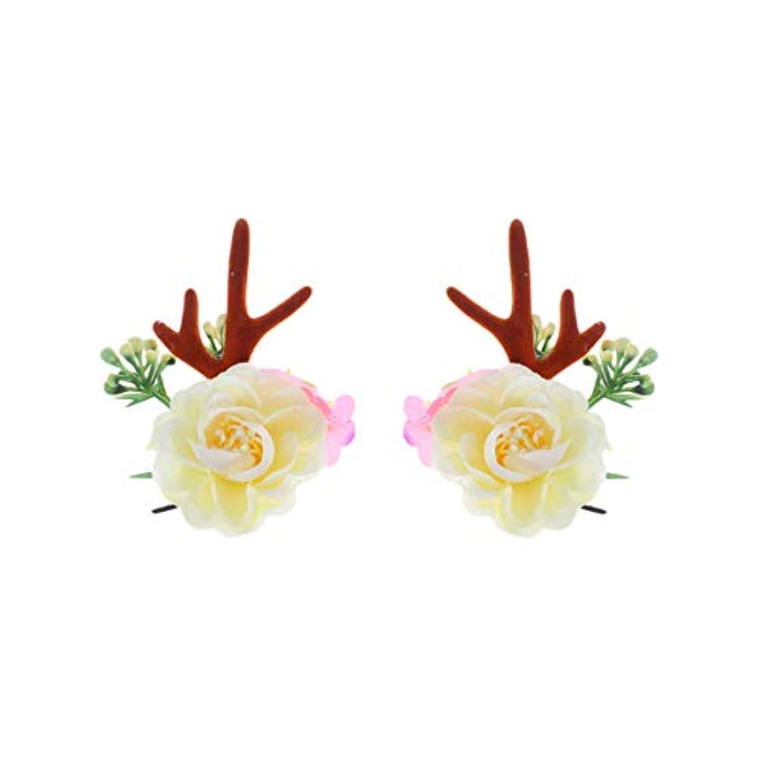 教室大使館休日Lurrose クリスマスヘアクリップアントラーズアントラーズヘアピンかわいいヘアアクセサリー女の子日常着パーティーデコレーション