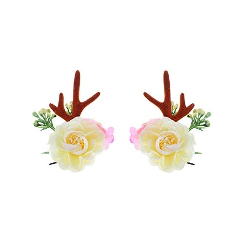 きちんとしたクスコ出力Lurrose クリスマスヘアクリップアントラーズアントラーズヘアピンかわいいヘアアクセサリー女の子日常着パーティーデコレーション