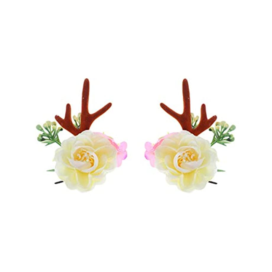 ギャンブルジェーンオースティン幅Lurrose クリスマスヘアクリップアントラーズアントラーズヘアピンかわいいヘアアクセサリー女の子日常着パーティーデコレーション