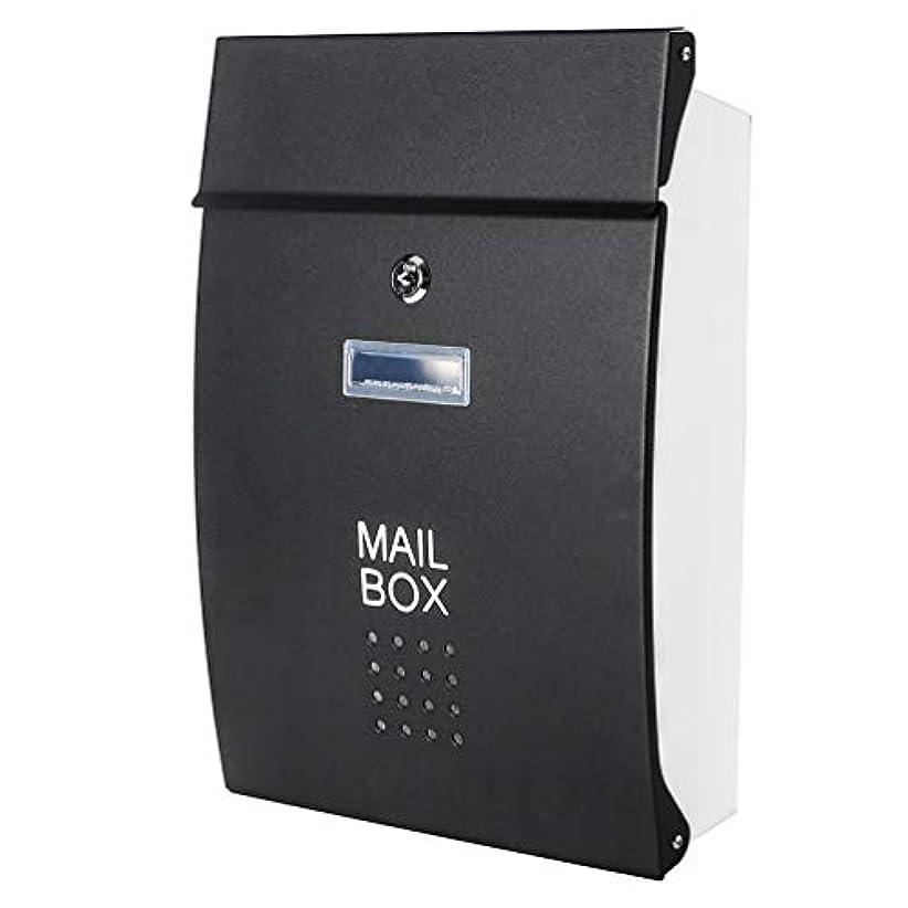 顕微鏡前売特派員Jssmst メールボックス 郵便受け ポスト 北欧風 壁掛け キーロック式 大容量 投函物 玄関 HPB005-黒 (ブラック)