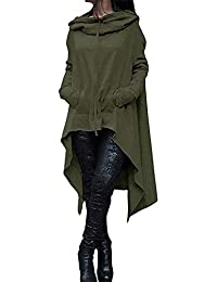 女性 ルーズパーカー スウェット 長袖 アウターコート ドレス カンガルーポケットと非対称裾付き