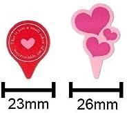 FBAケーキピック バレンタイン3 シンプルハート・トリプルハート 20枚入