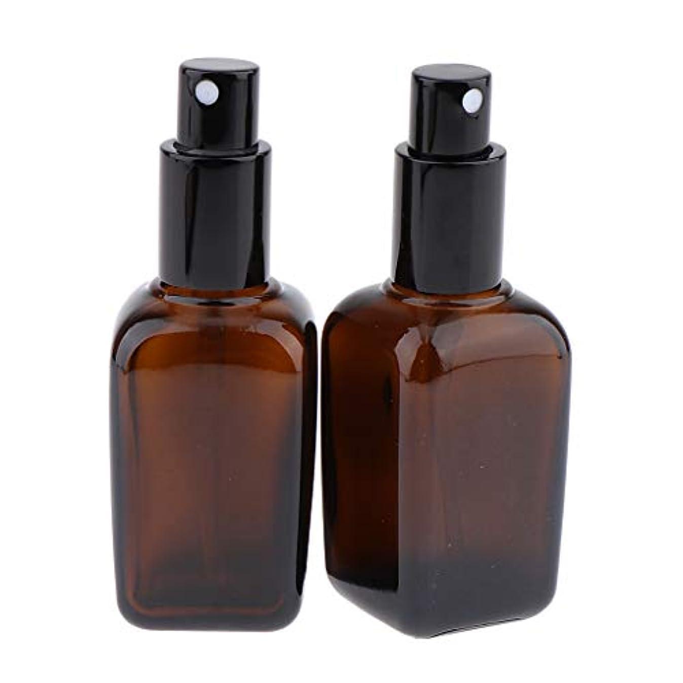 物理皮肉な認可2本 スプレーボトル ガラス ポンプボトル 漏れ防止 香水ボトル 5サイズ選べ - 50ml