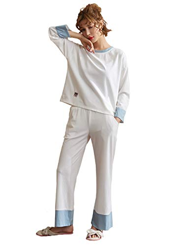 パジャマレディース 綿100% 長袖 ズボン 上下セット 丸襟 柔らかく肌触り 寝間着 便利服 2点セット 春 秋 冬 用 部屋着 パジャマ 究極快適 M-XXL (XL, ホワイト)